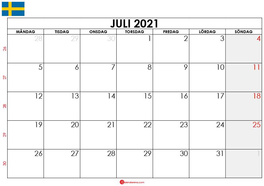 juli 2021 kalender sw