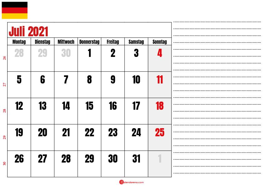 juli kalender 2021 Deutschland
