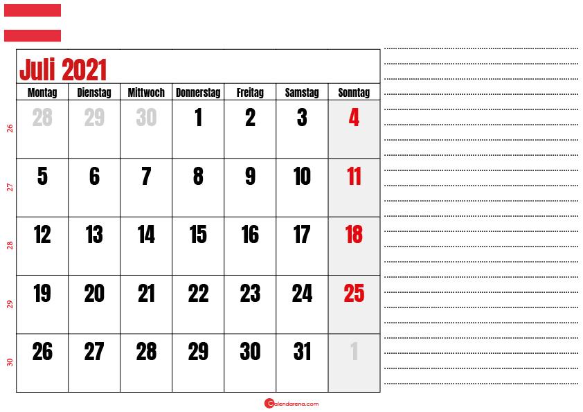 juli kalender 2021 Österreich