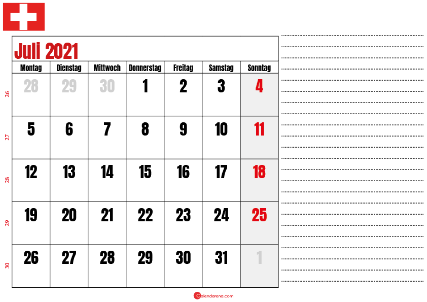 juli kalender 2021 Schweiz