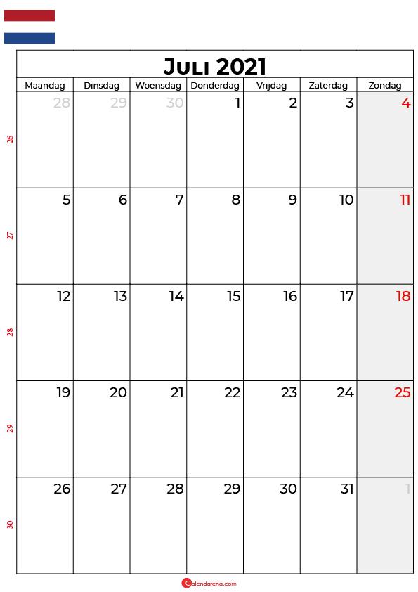 juli kalender 2021 nl