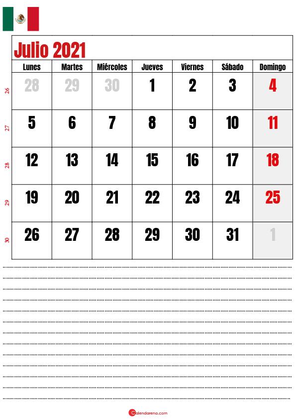julio 2021 calendario mexico