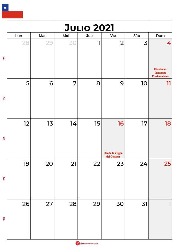 julio 2021 calendario chilie