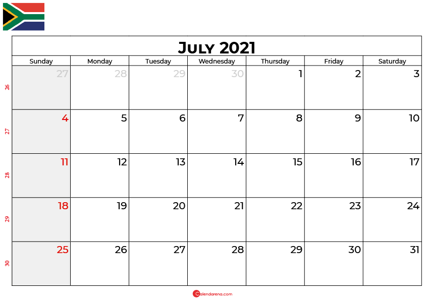 july 2021 calendar south africa
