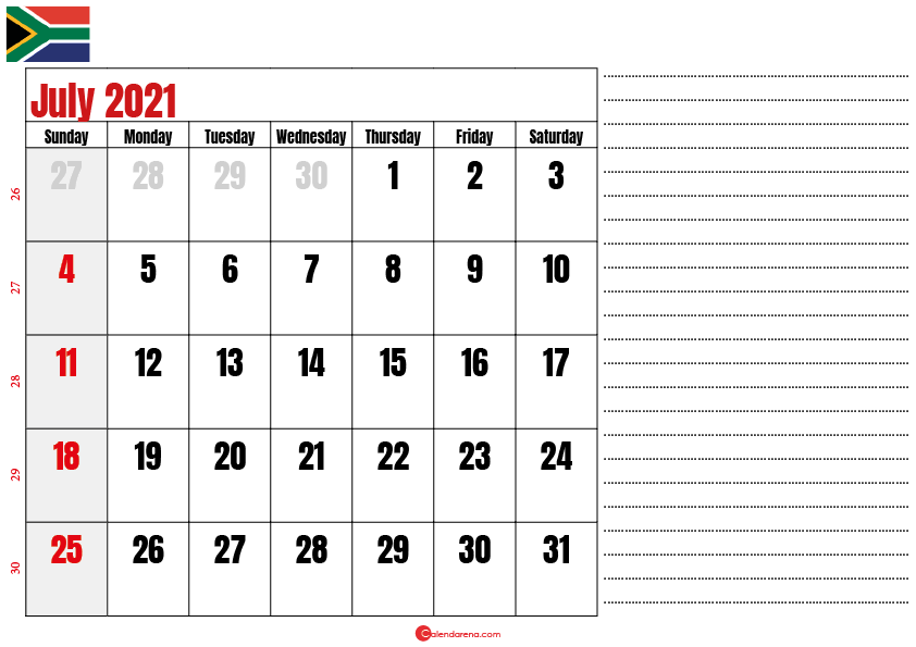 july 2021 printable calendar south africa