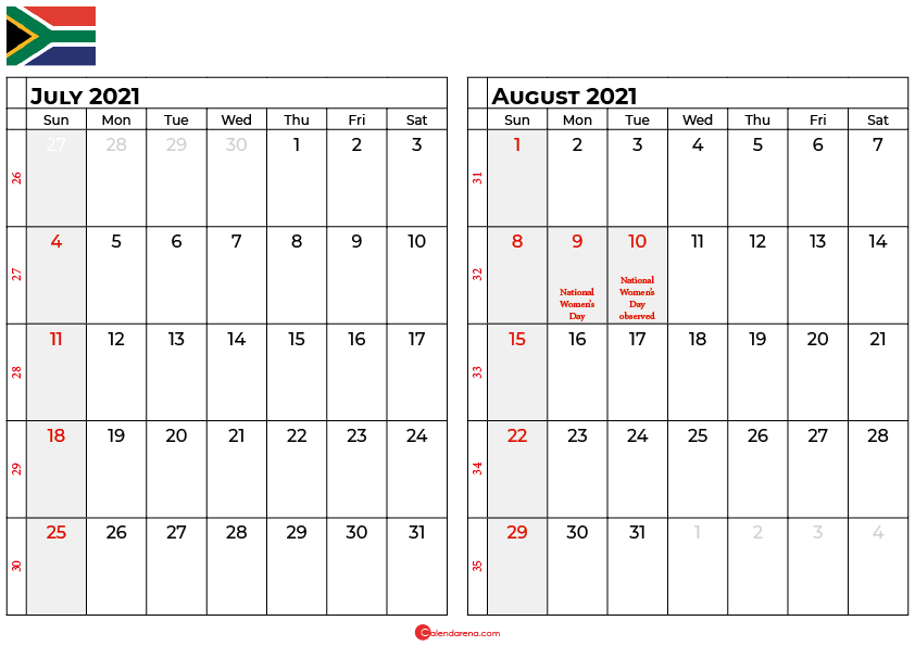 july and august 2021 calendar south africa