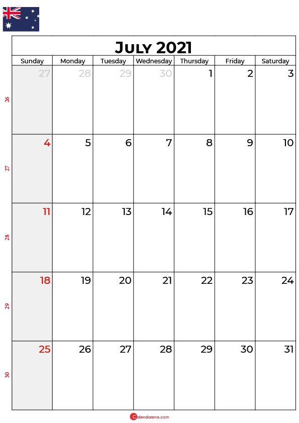 july calendar 2021 au
