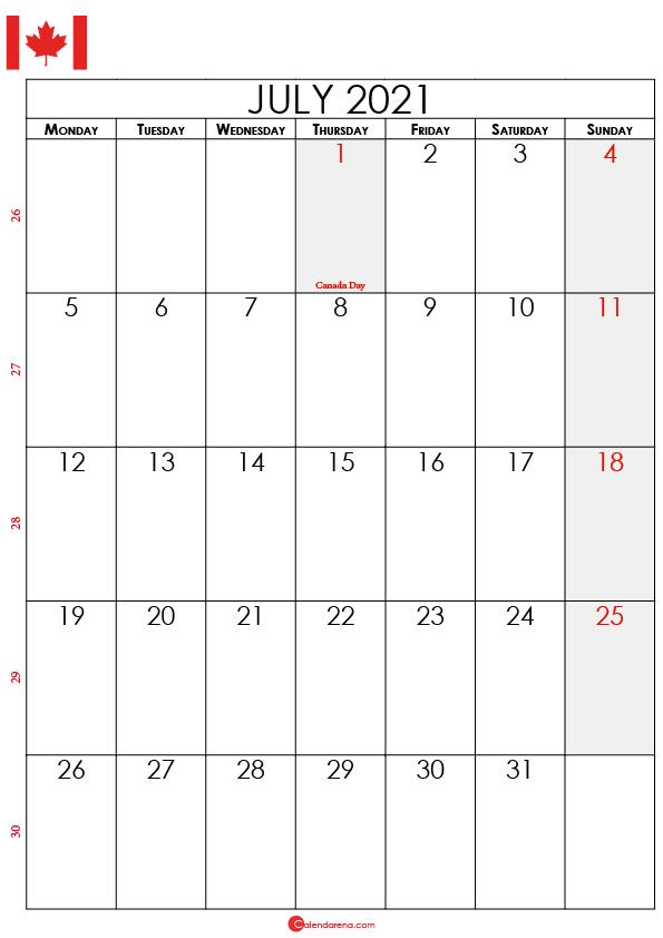 july calendar 2021 ca