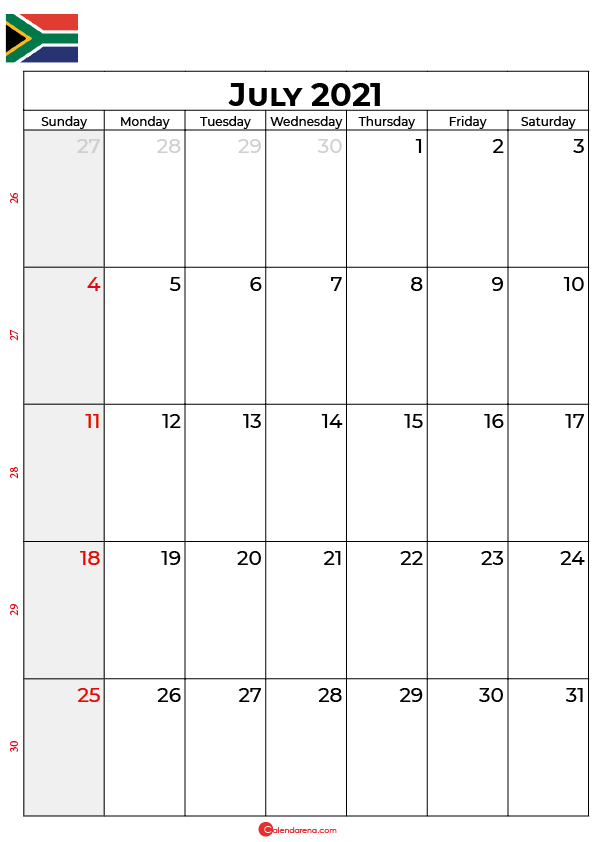 july calendar 2021 south africa