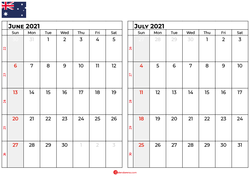 june and july 2021 calendar au