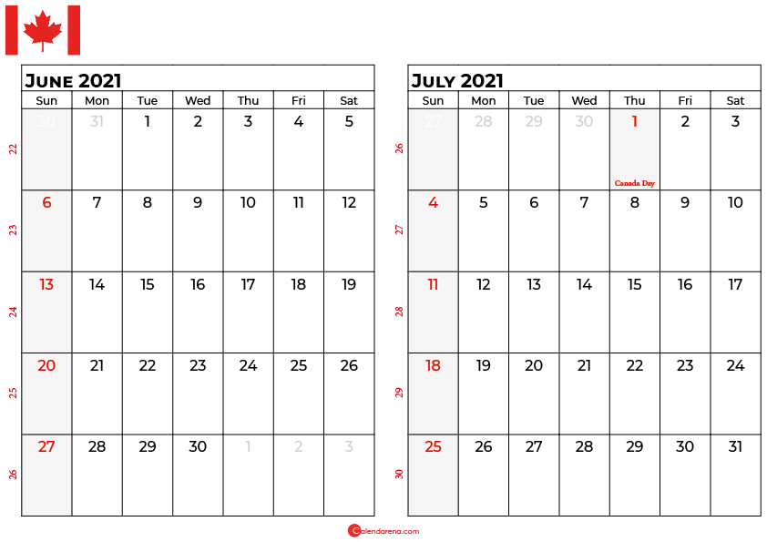 june and july 2021 calendar ca