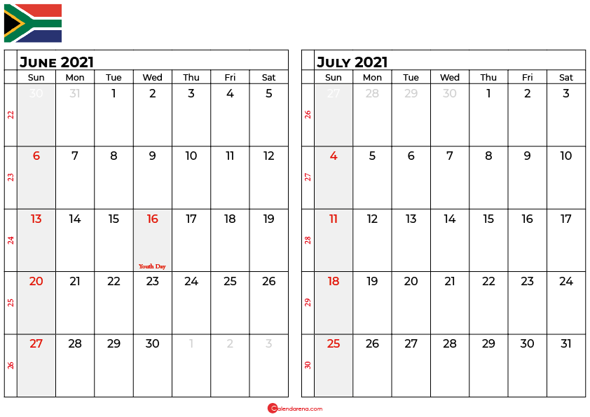 june and july 2021 calendar south africa