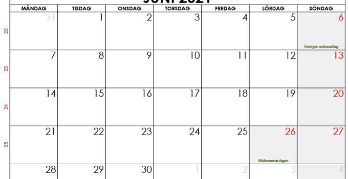 juni 2021 kalender sw