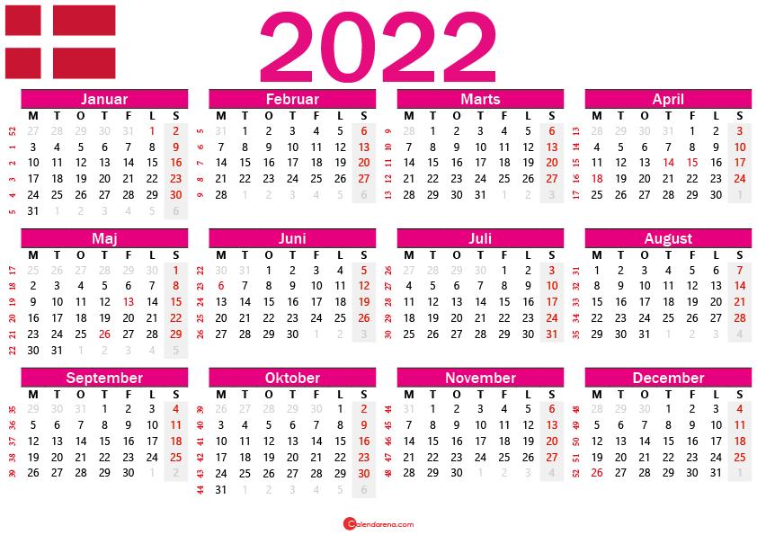 kalender 2022 med uger