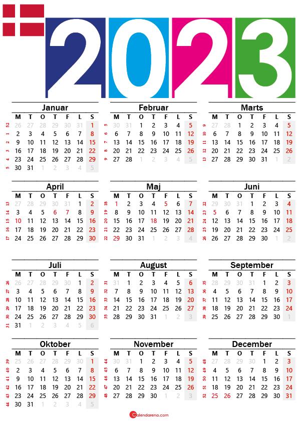 kalender 2023 med helligdage