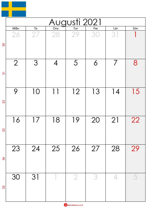 kalender augusti 2021 sw