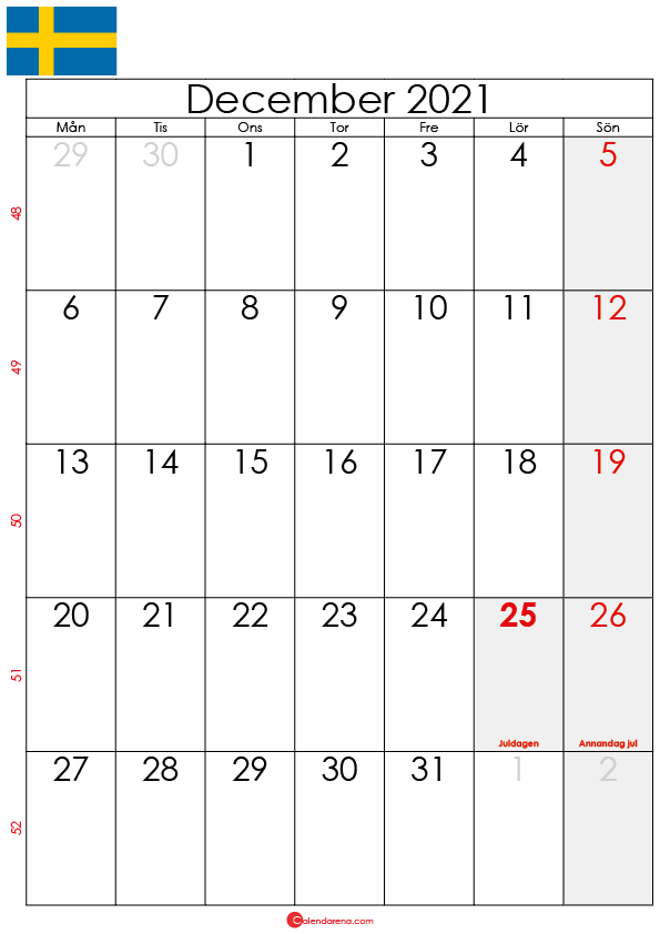 kalender december 2021 sw