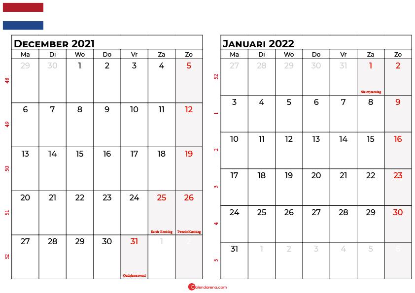 kalender december januar 2022 nl