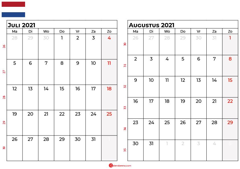 kalender juli augustus 2021 nl