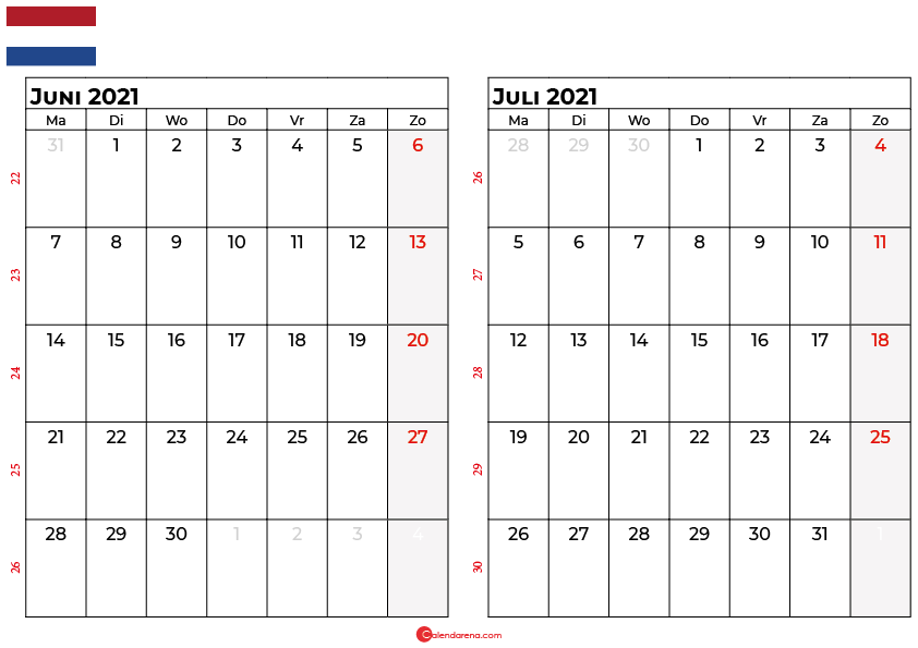 kalender juni juli 2021 nl