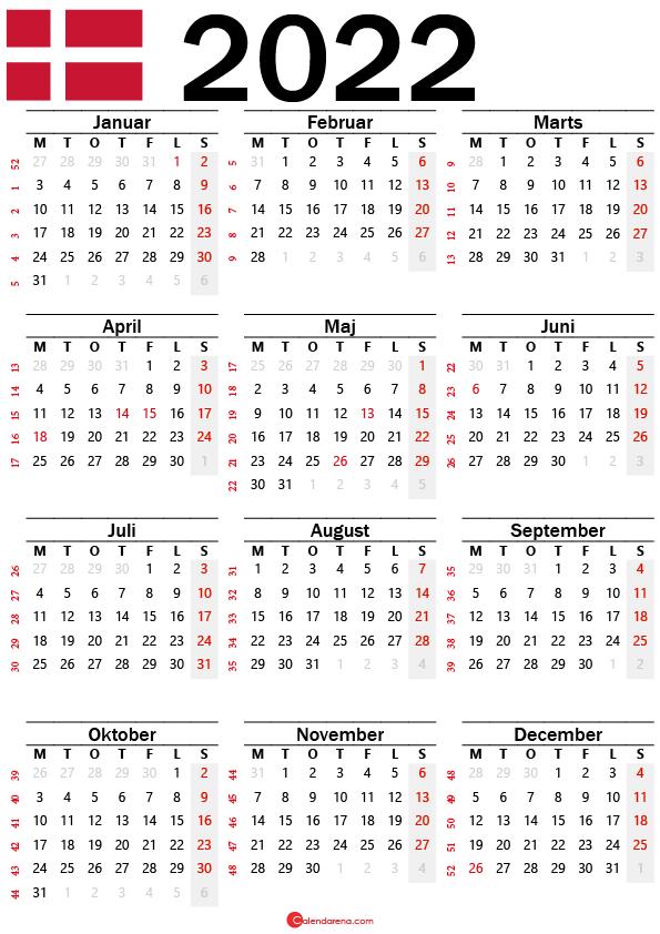 kalender med uger 2022