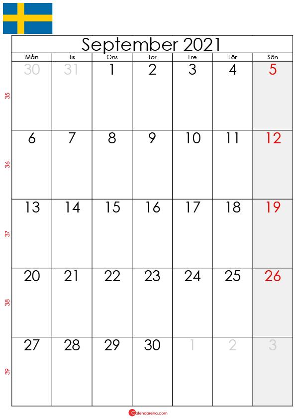 kalender september 2021 sw