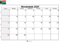 november 2021 calendar sa
