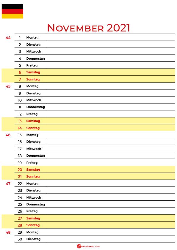 november 2021 kalender Deutschland