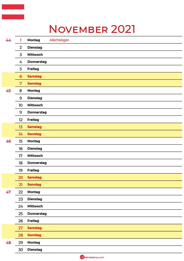 november 2021 kalender Österreich
