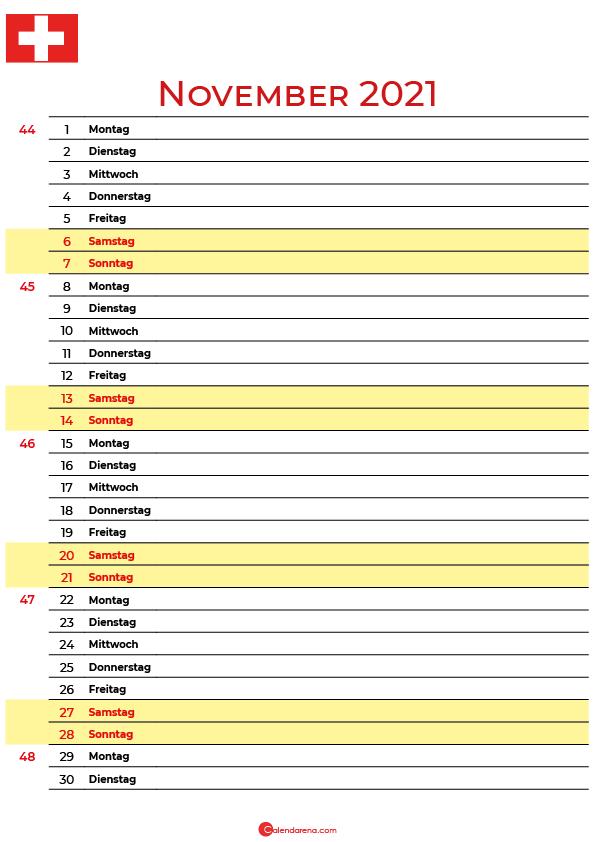 november 2021 kalender Schweiz