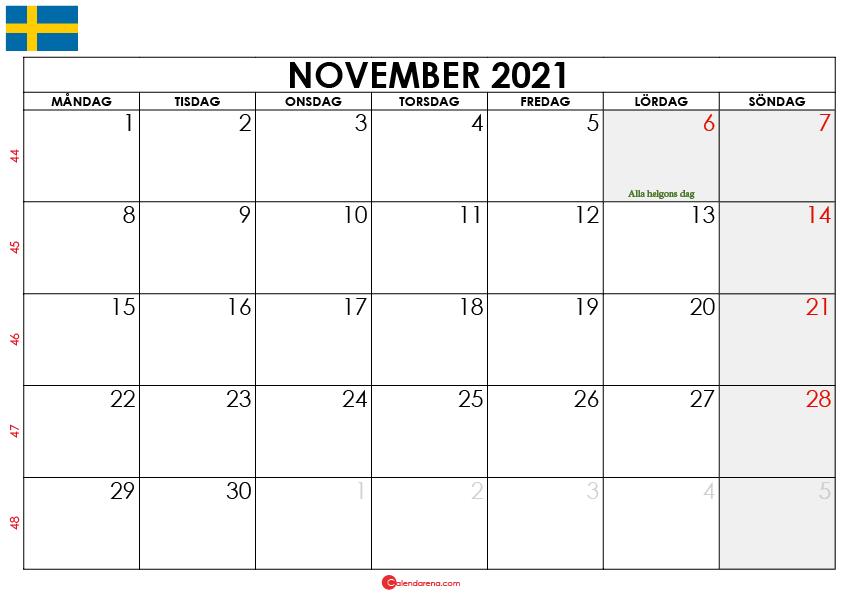 november 2021 kalender sw