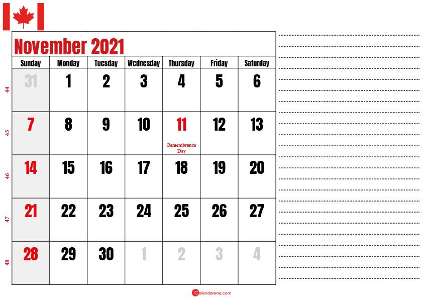 november 2021 printable calendar ca