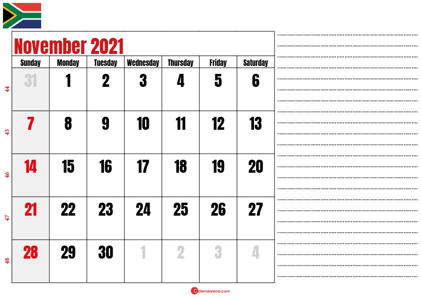 november 2021 printable calendar south africa