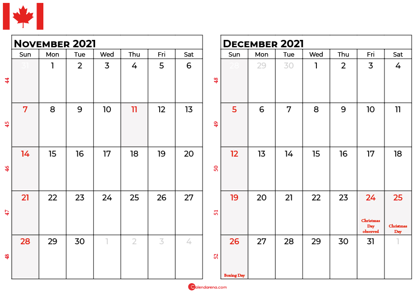 november and december 2021 calendar ca
