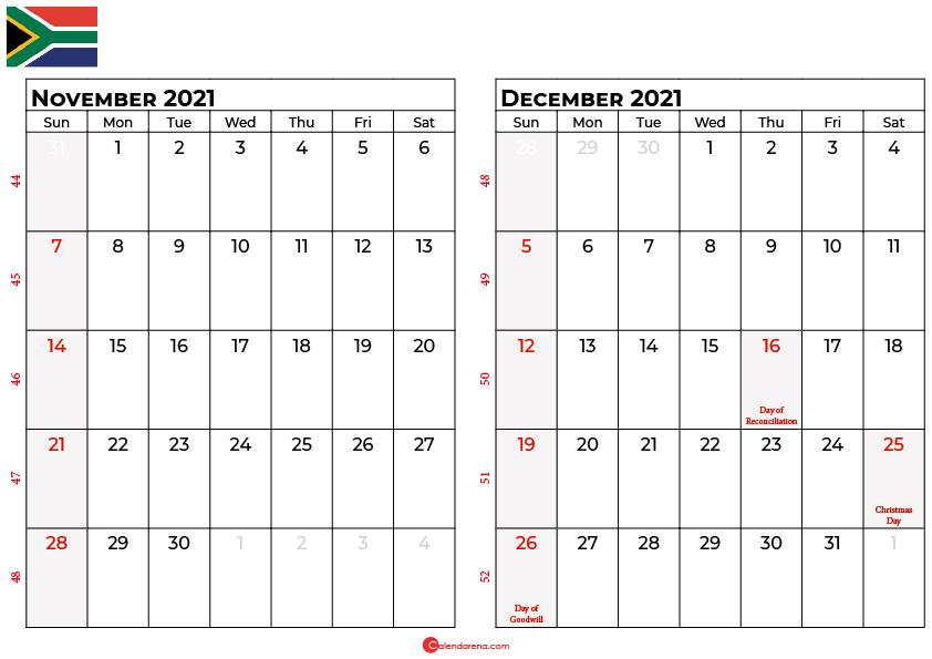 november and december 2021 calendar south africa