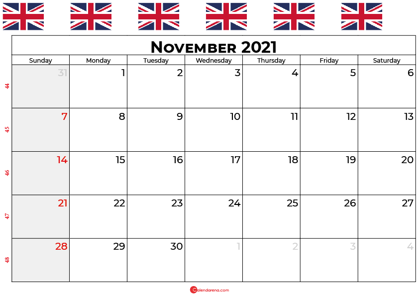 november calendar 2021 UK