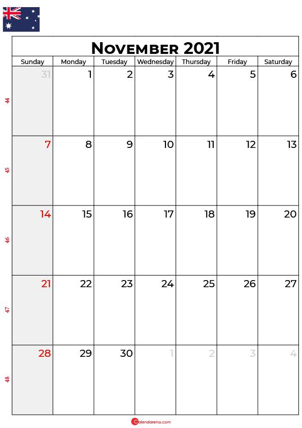 november calendar 2021 au