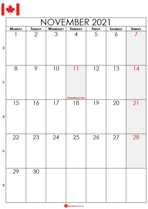november calendar 2021 ca