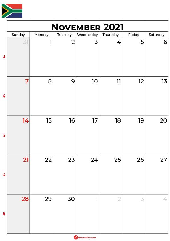 november calendar 2021 south africa