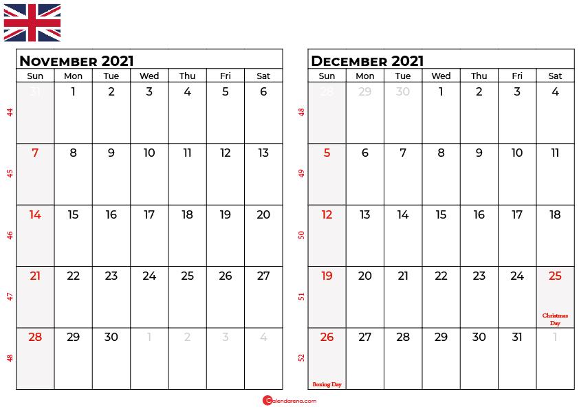 november december 2021 calendar UK