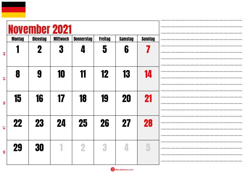 november kalender 2021 Deutschland