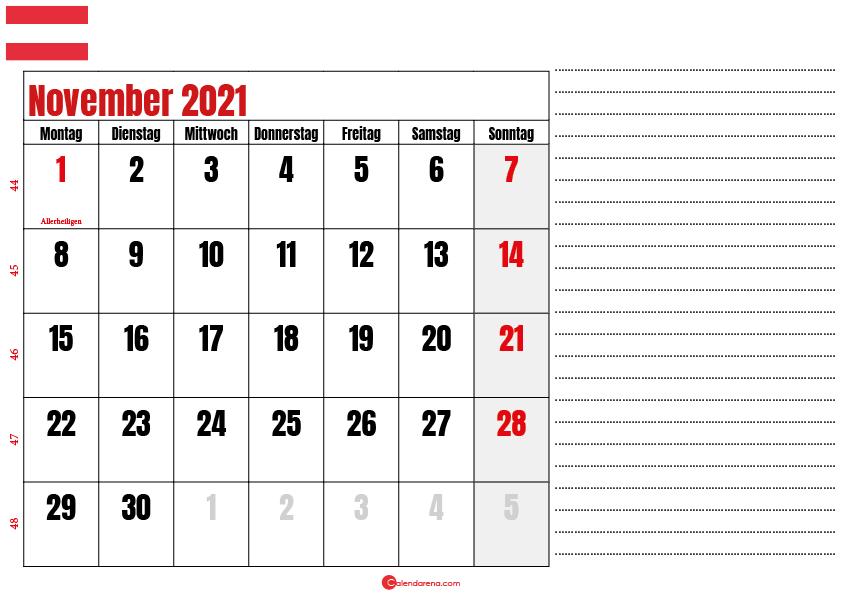 november kalender 2021 Österreich