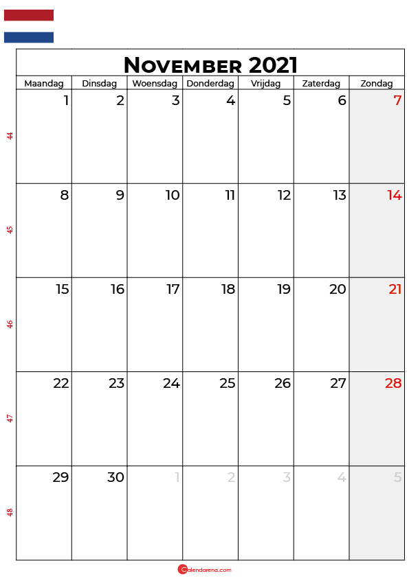 november kalender 2021 nl