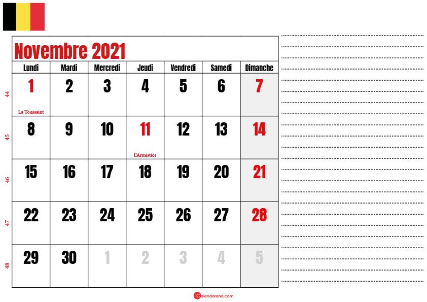 novembre 2021 calendrier belgique
