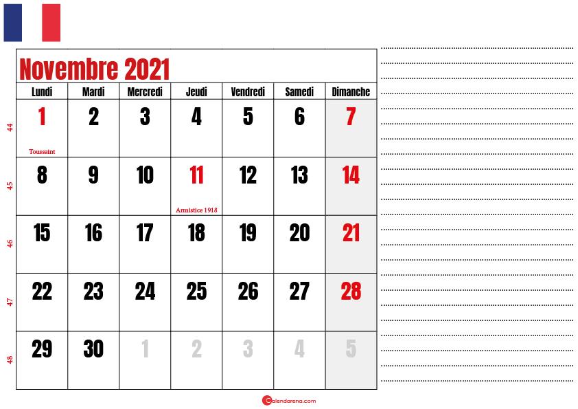novembre 2021 calendrier france