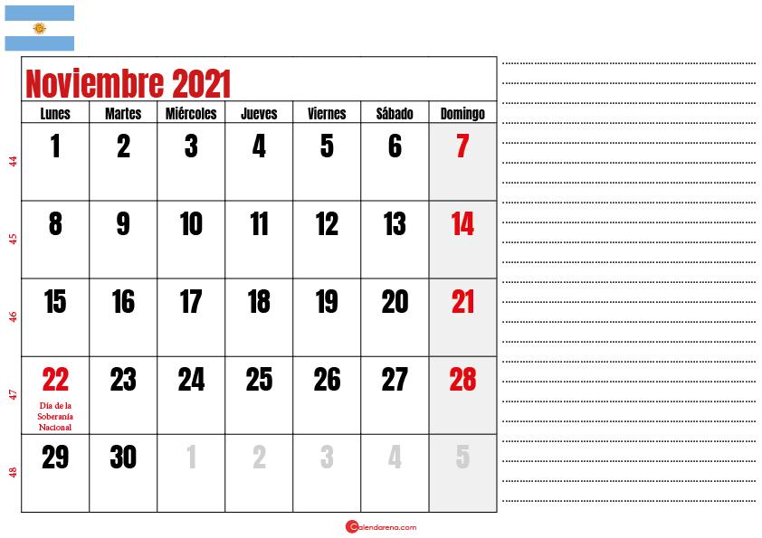 noviembre 2021 calendario argentina