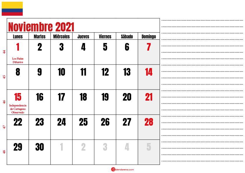 noviembre 2021 calendario colombia