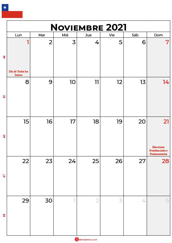 noviembre 2021 calendario