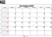 october 2021 calendar south africa