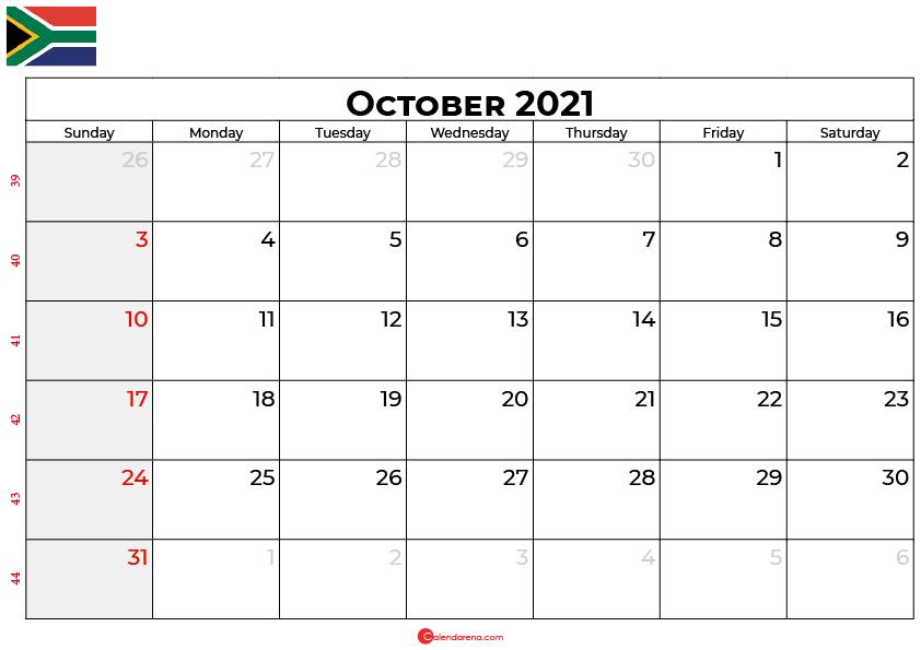 october 2021 calendar sa